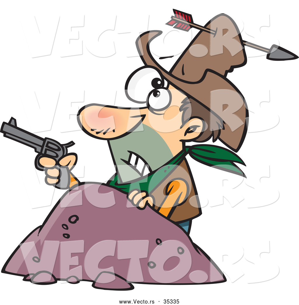 1024x1044 Vector Of A Untrained Cartoon Cowboy Holding A Pistol While