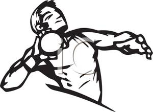 300x219 Black And White Cartoon Of A Man Throwing The Shot Put