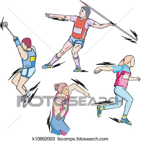 450x456 Clipart Of Shot Put, Discus, Hammer And Javelin Throw K10662003