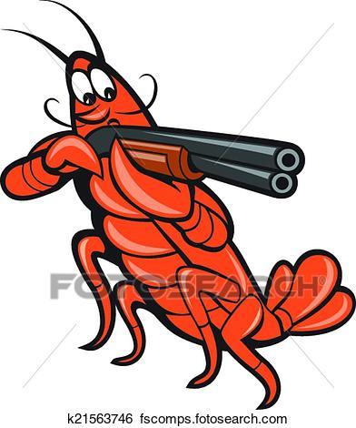 392x470 Clip Art Of Crayfish Lobster Aiming Shotgun Cartoon K21563746