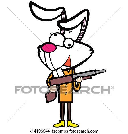 450x470 Clipart Of Cartoon Rabbit Hunter With A Shotgun K14195344
