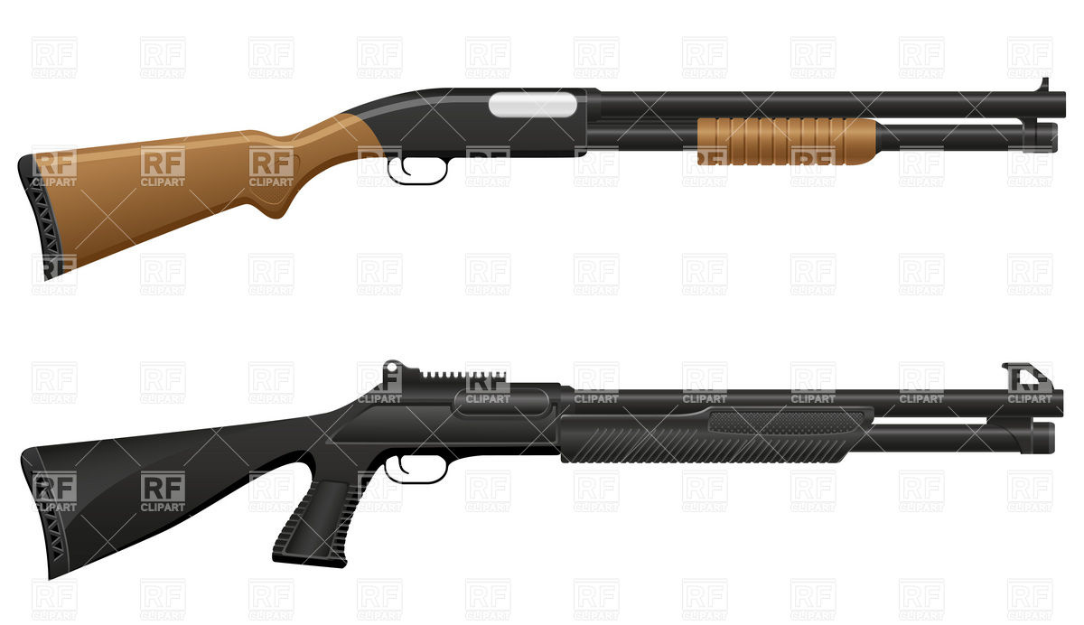 1200x692 Shotgun With Wooden Butt And Handle Royalty Free Vector Clip Art
