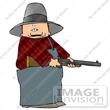 450x450 Caucasian Farmer Cowboy Man Holding A Rifle Clipart