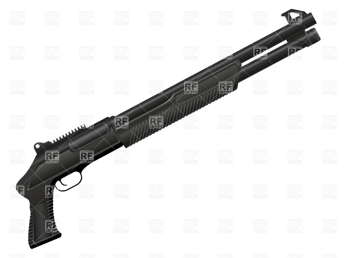 1200x894 Black Shotgun Without Butt Royalty Free Vector Clip Art Image