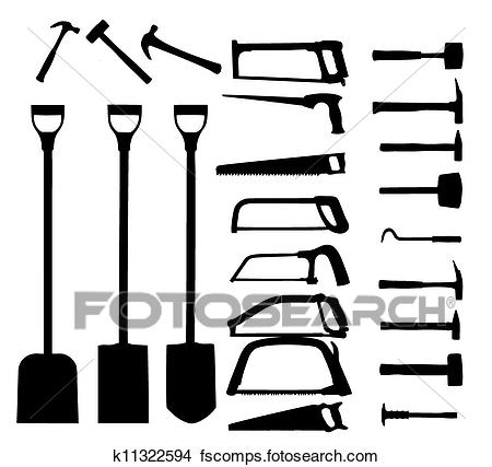 450x427 Clipart Of Set Of Power Tools, Shovel, Drill, Hammer. Vector Icon