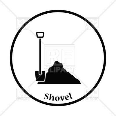 400x400 Icon Of Construction Shovel And Sand Royalty Free Vector Clip Art