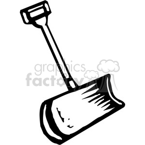 300x300 Royalty Free Black And White Snow Shovel 384913 Vector Clip Art