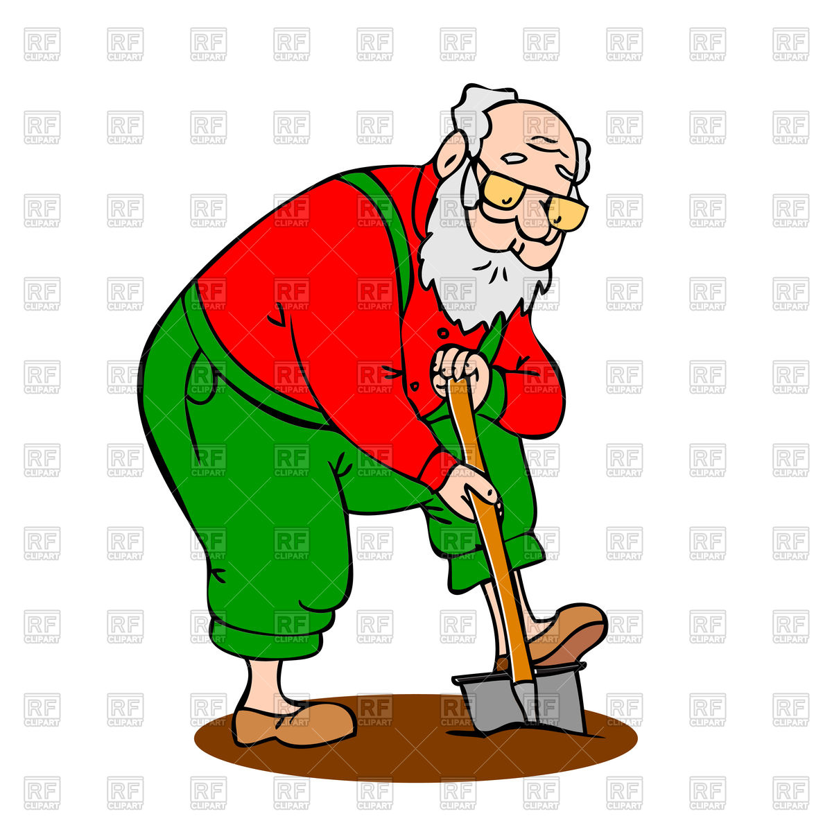 1200x1200 Funny Grandfather With A Long Beard Shovel Digs Up The Ground