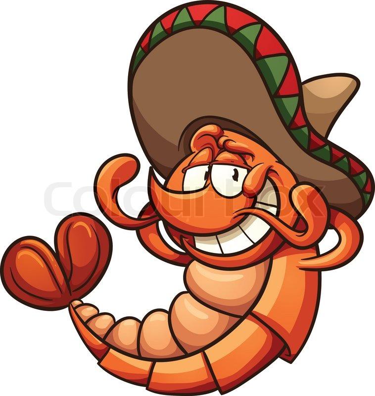 758x800 Cartoon Mexican Shrimp Relaxing. Vector Clip Art Illustration