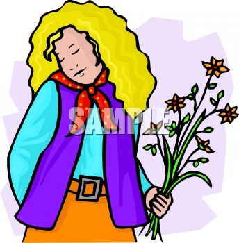 344x350 Royalty Free Clip Art Image Shy, Sensitive Girl With Flowers