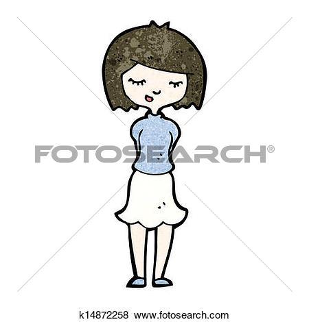 450x470 Shy Woman Clipart