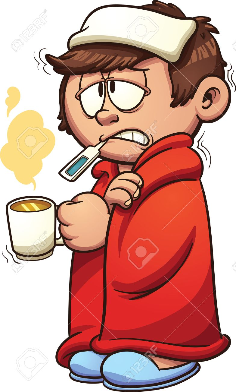 784x1300 Kid Sick With A Cold And Fever. Vector Clip Art Illustration