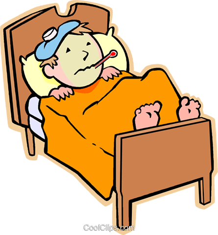 445x480 Sick In Bed Clipart
