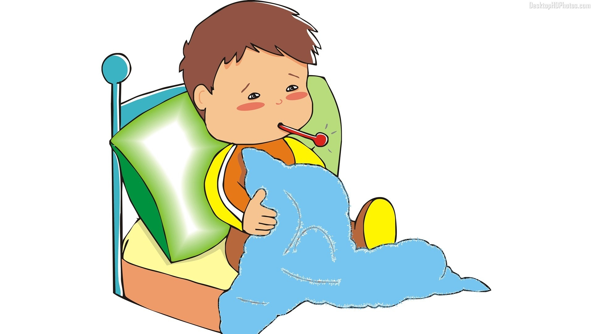 1920x1080 Sick In Bed Clipart Drawing Design Kids