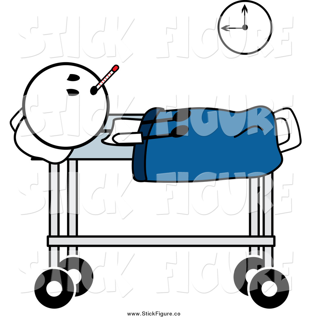 1024x1044 Clip Art Of A Sick Stick Man In A Hospital Bed By Pams Clipart