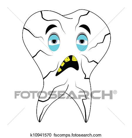 450x470 Clipart Of Sick Teeth K10941570
