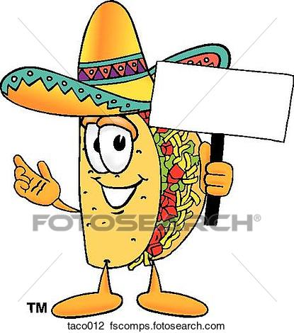 415x470 Clipart Of Taco With Sign Taco012