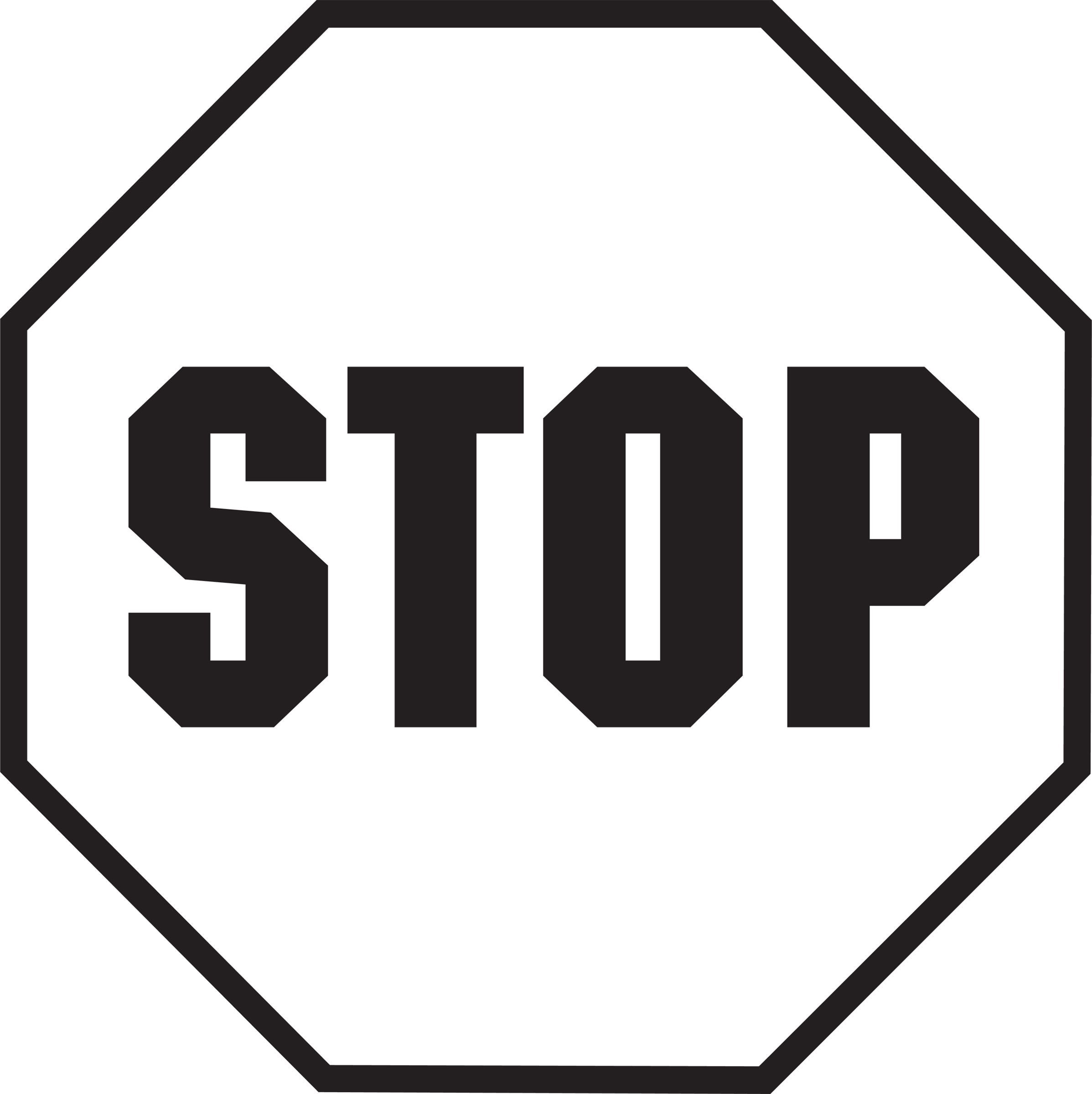 2395x2400 Stop Sign Clip Art Black And White