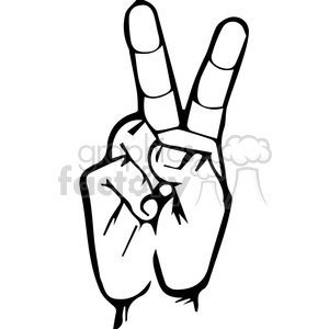 300x300 Royalty Free Sign Language Letter V 167510 Vector Clip Art Image