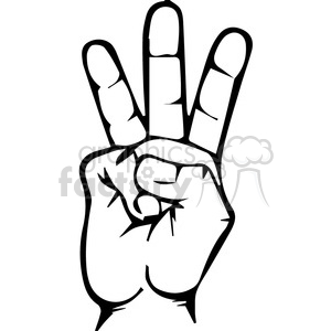 300x300 Royalty Free Sign Language Letter W 167511 Vector Clip Art Image