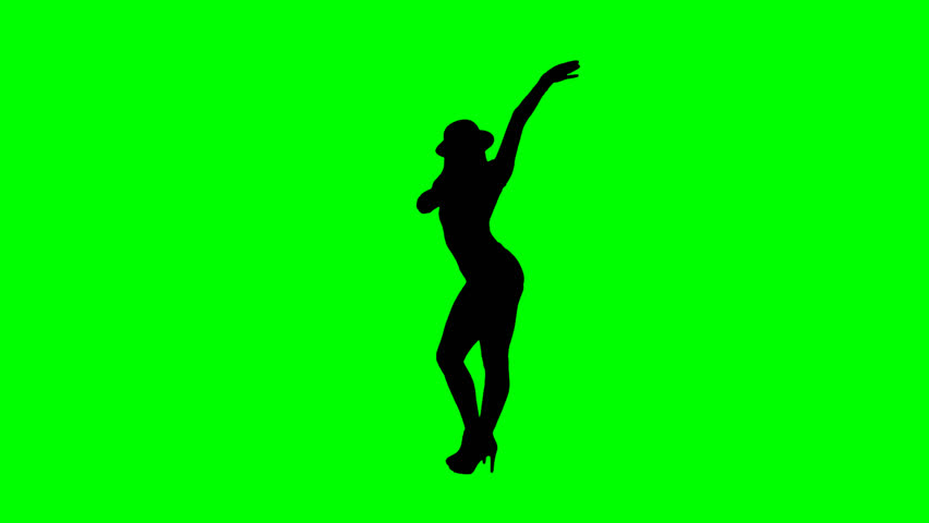 852x480 Female Jazz Dancer Silhouette On Chroma Key Green Background