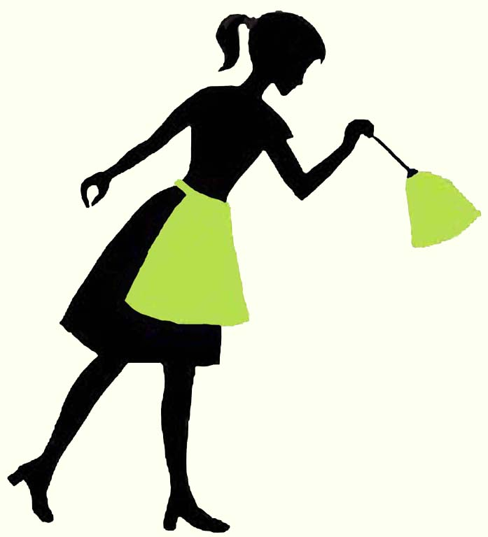 697x768 Silhouette Cleaning Lady Clipart