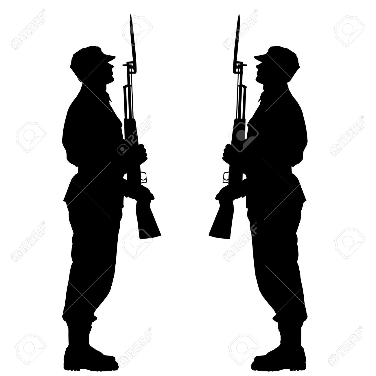 1300x1300 Silhouette Soldiers During A Military Parade Royalty Free Cliparts