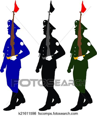 395x470 Clip Art Of Silhouette Soldiers During A Military Parade. Vector