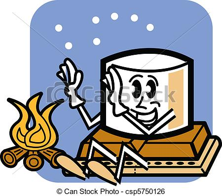450x397 Silly Cartoon Camping Clipart