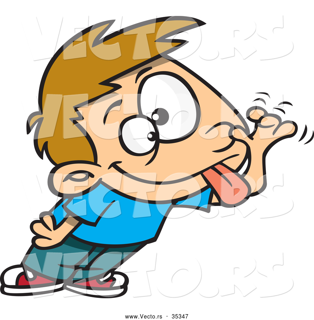 1024x1044 Vector Of A Teasing Cartoon Boy Sticking His Tongue Out And Making