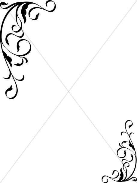 456x612 Funeral Clipart Decorative Corner Accent