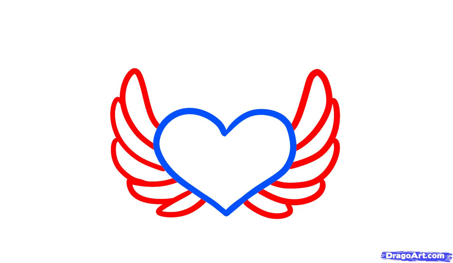 1488x865 Simple Angel Wings Drawing How To Draw Angel Hearts, Step By Step