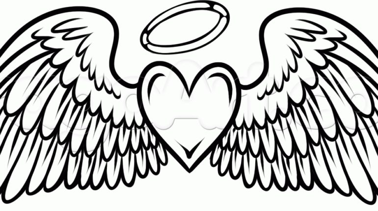 simple angel wings drawing free download best simple angel wings Right- Wing 770x430 20 best simple angel wings coloring pages ideas