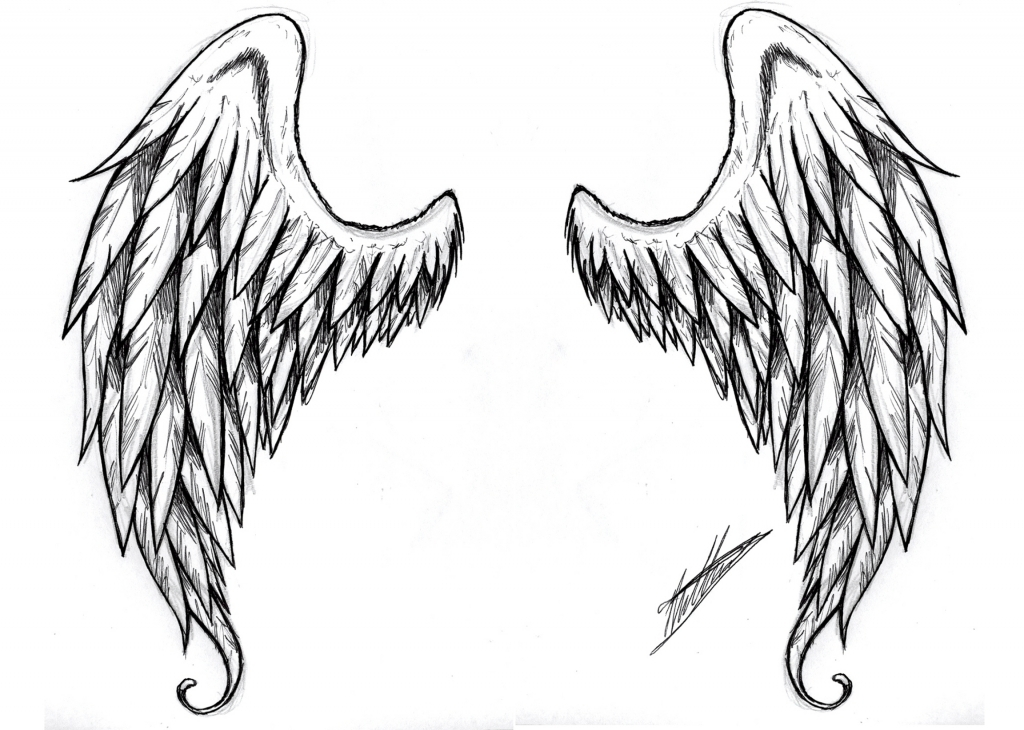 1024x730 Easy To Draw Angel Wings