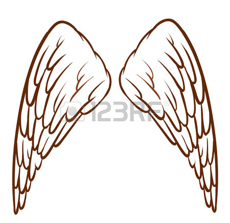 450x435 Illustration Of A Simple Sketch Of An Angel's Wings On A White