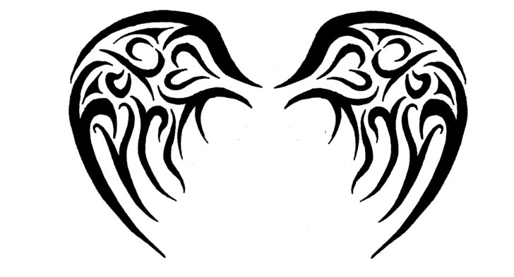 728x393 Tribal Angel Wings Tattoo Designs Simple Angel Wings Tattoo