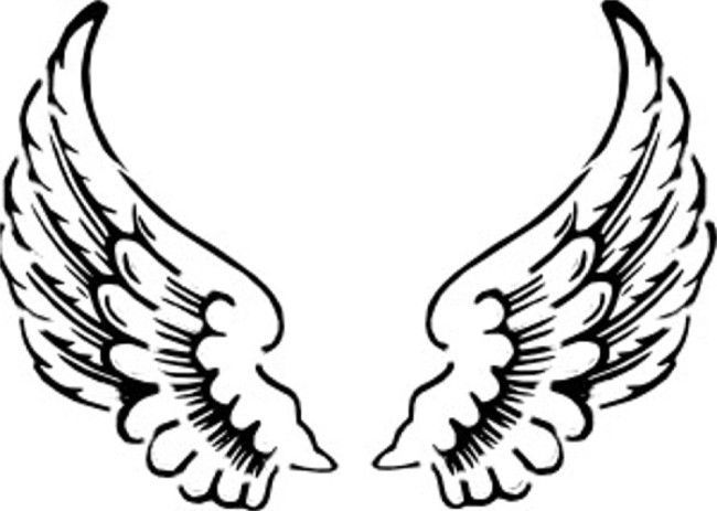 650x463 Angel Wings Outline Clip Art