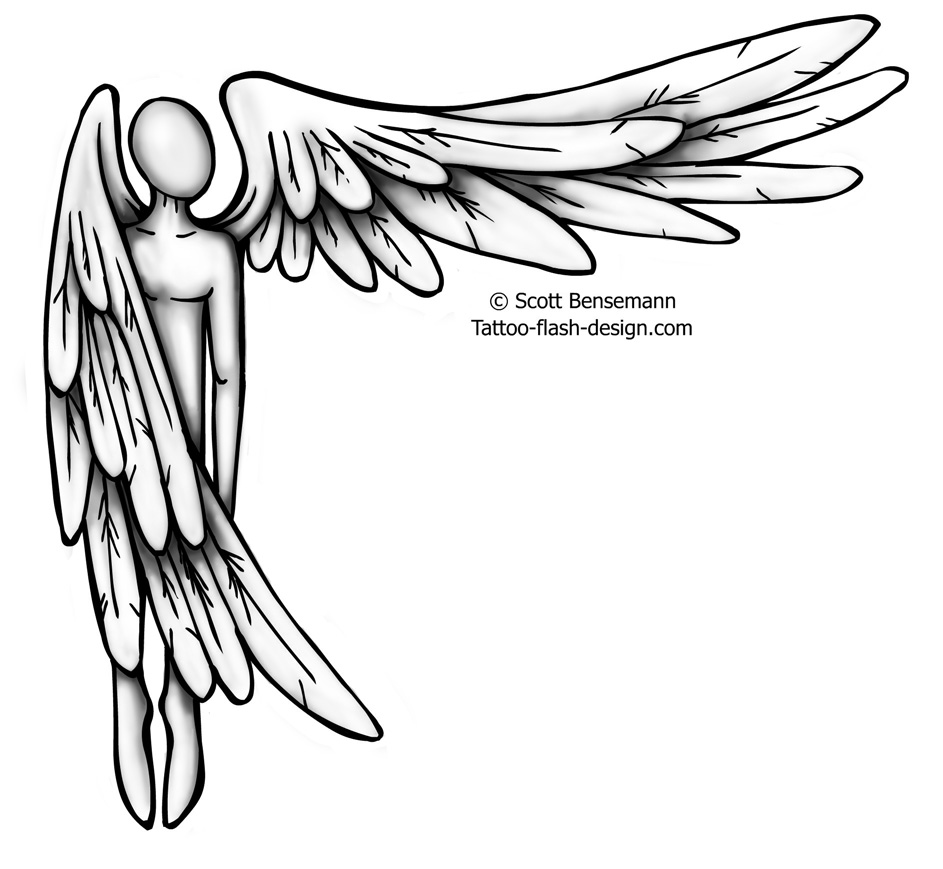 943x869 Angel With Wing Out Tattoo Design Ideas