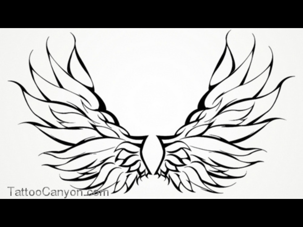 1024x768 Angle Wings Wings Tattoo Angel Tribal Outline Design Picture