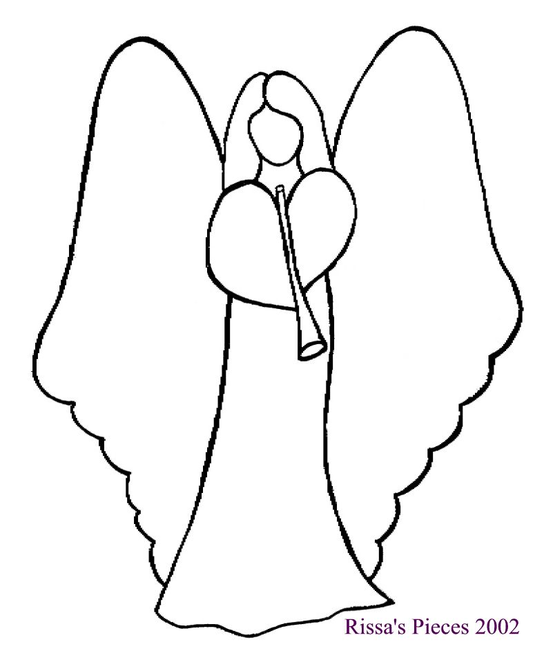 788x960 Angel Outline Drawing