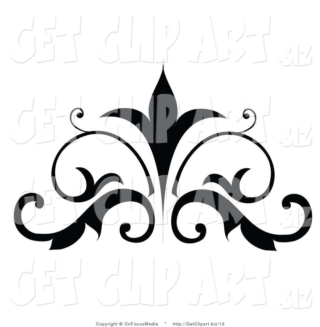1024x1044 Vector Clip Art Of A Silhouetted Scrolling Embellishment Design By