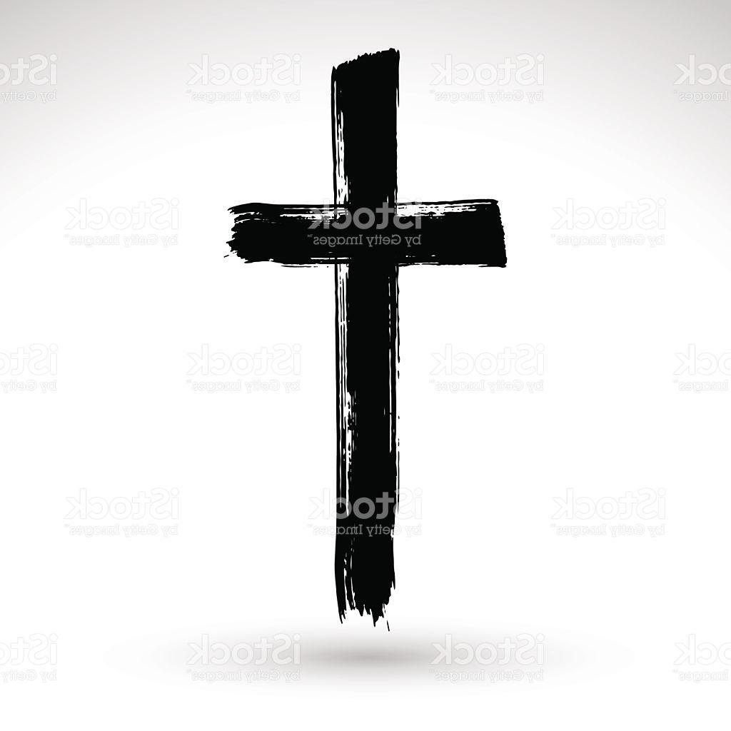 1024x1024 Hand Drawn Black Grunge Cross Icon Simple Christian Sign Vector