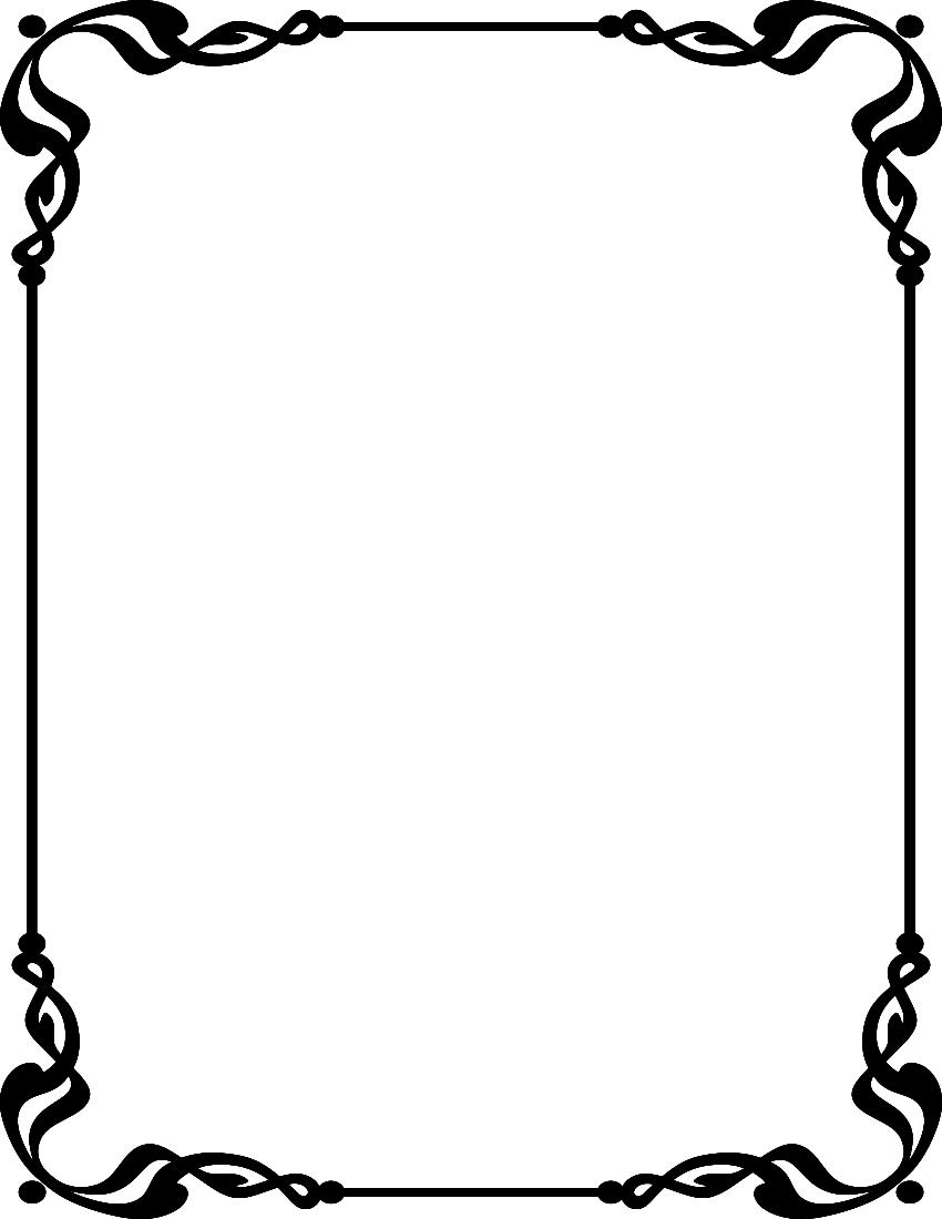 850x1100 Simple Border Frames Clip Art