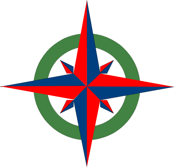600x577 Compass Rose Red Blue Green Clip Art