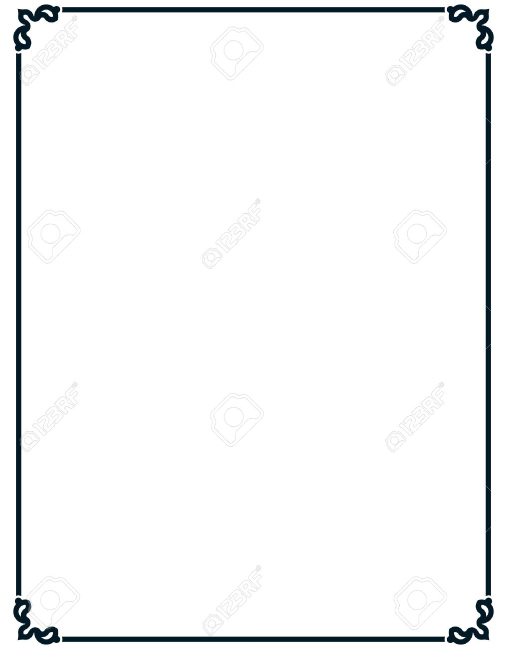 1016x1300 Border Frame Deco Vector Art Simple Line Corner Royalty Free