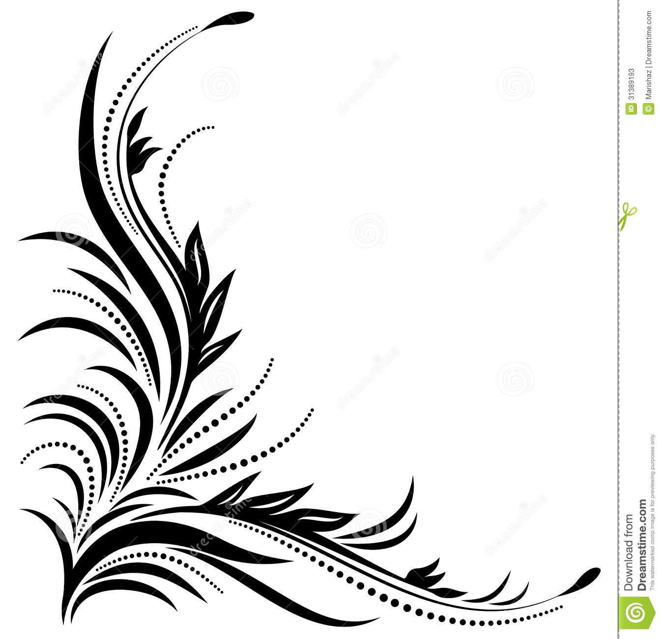 1347x1300 Decorative Corner Ornament Illustration Black Floral Patterns