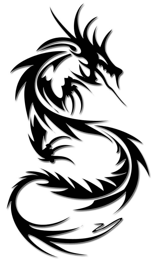 604x1024 Simple Tribal Dragon Tattoos