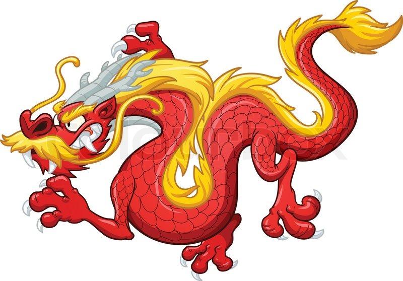 800x558 Cartoon Chinese Red Dragon. Vector Clip Art Illustration