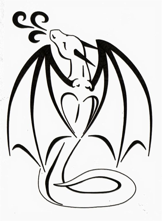 564x770 Cute Black Outline Dragon Tattoo Design