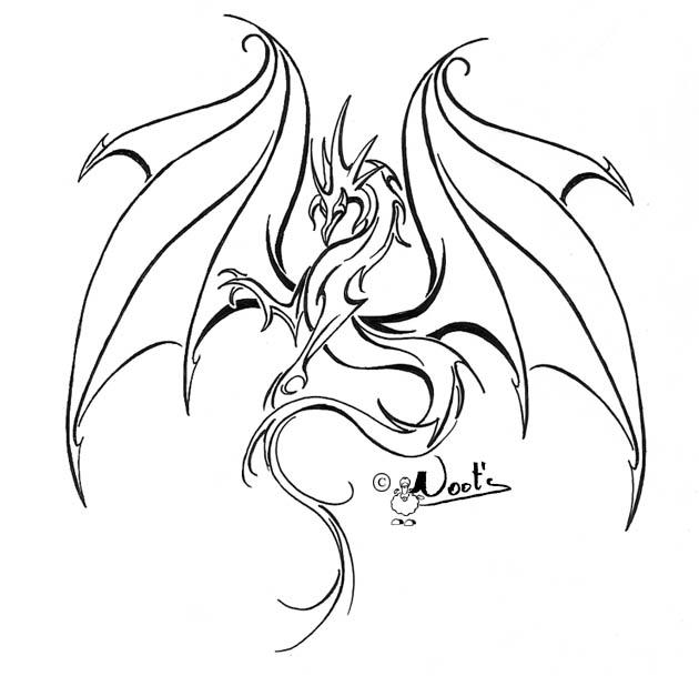630x609 Drawn Dragon Outline Drawing